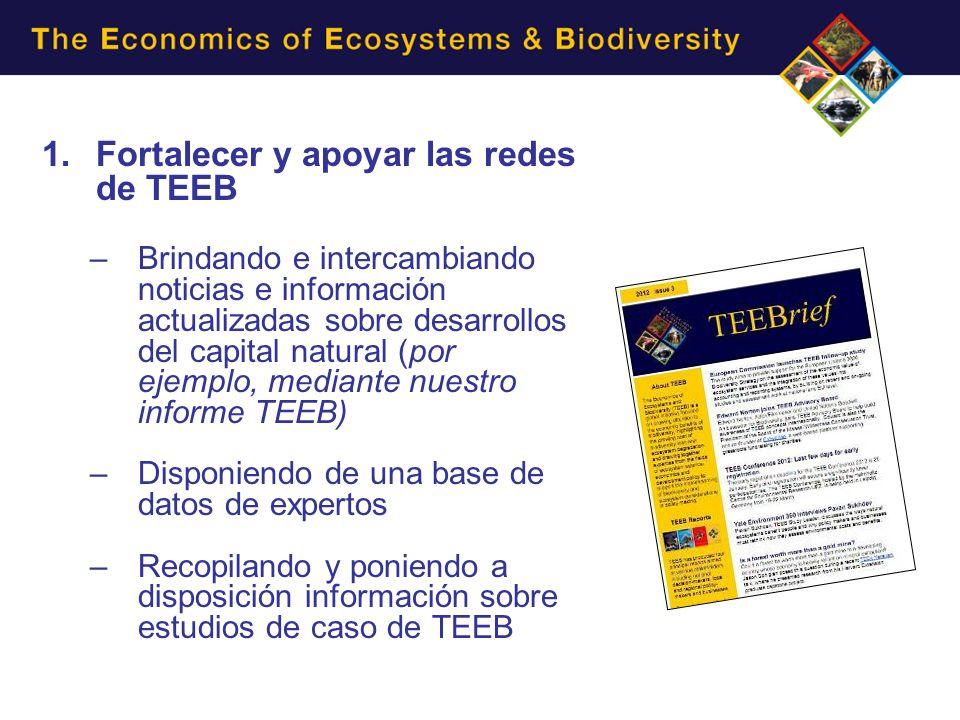 1.Fortalecer y apoyar las redes de TEEB –Brindando e intercambiando noticias e información actualizadas sobre desarrollos del capital natural (por eje