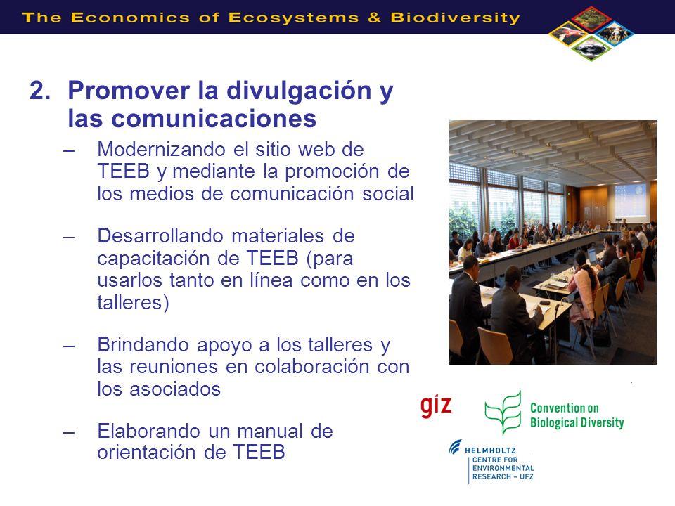 3.Apoyar los estudios sectoriales –Estudio sobre la economía del agua y los humedales de TEEB y la Convención de RAMSAR –TEEB y los océanos y (Artículo de discusión, 2012) –TEEB y la economía verde (información para Río+ 20) –TEEB y las ciudades (lanzado en agosto de 2011) –Agricultura y alimentación