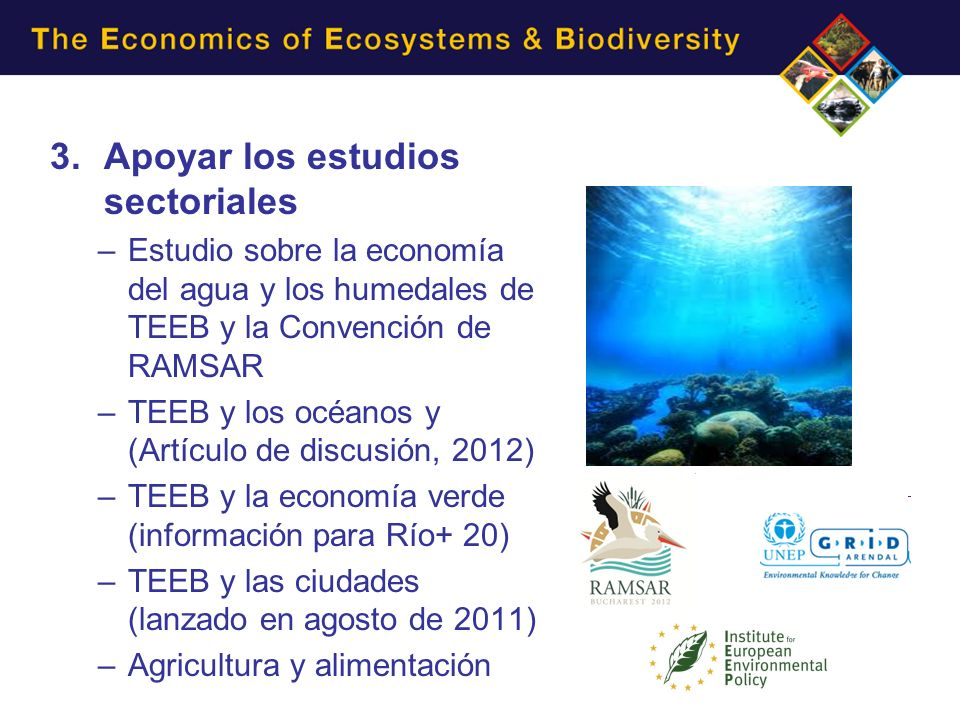 3.Apoyar los estudios sectoriales –Estudio sobre la economía del agua y los humedales de TEEB y la Convención de RAMSAR –TEEB y los océanos y (Artícul