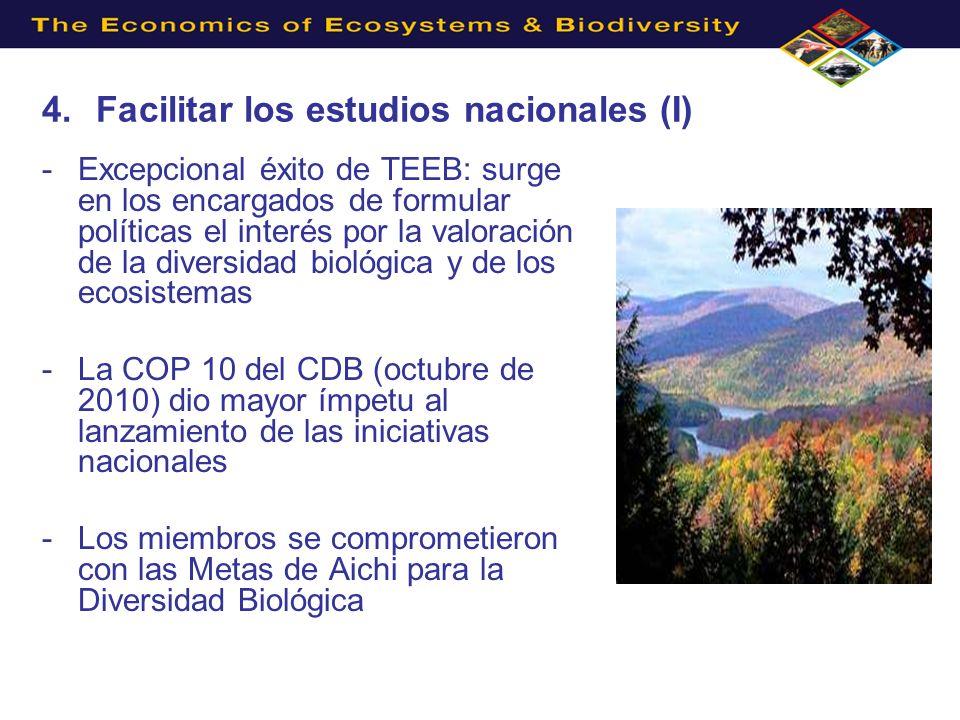 4.Facilitar los estudios nacionales (I) -Excepcional éxito de TEEB: surge en los encargados de formular políticas el interés por la valoración de la diversidad biológica y de los ecosistemas -La COP 10 del CDB (octubre de 2010) dio mayor ímpetu al lanzamiento de las iniciativas nacionales -Los miembros se comprometieron con las Metas de Aichi para la Diversidad Biológica
