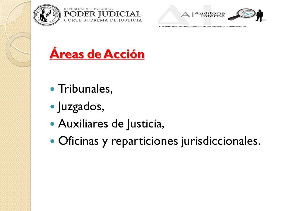 Áreas de Acción Tribunales, Juzgados, Auxiliares de Justicia, Oficinas y reparticiones jurisdiccionales.