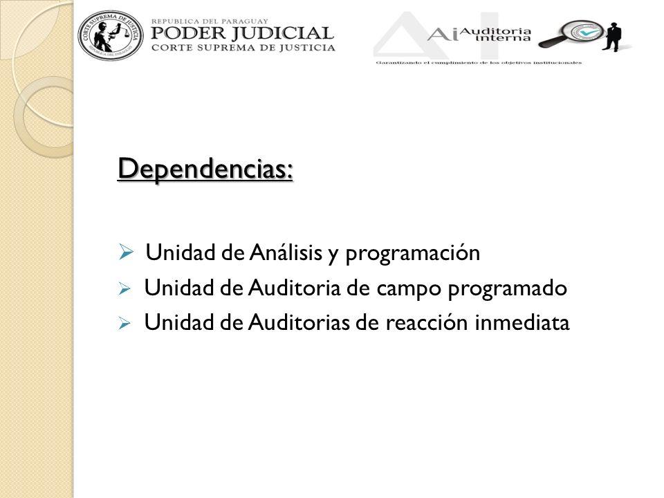 Dependencias: Unidad de Análisis y programación Unidad de Auditoria de campo programado Unidad de Auditorias de reacción inmediata