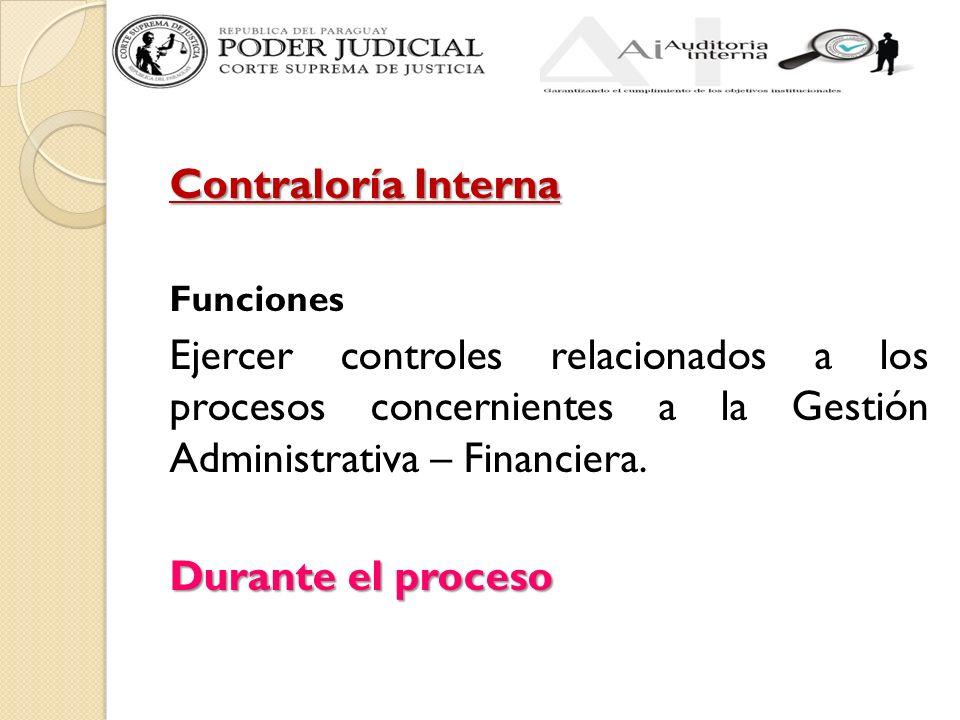 Contraloría Interna Funciones Ejercer controles relacionados a los procesos concernientes a la Gestión Administrativa – Financiera. Durante el proceso