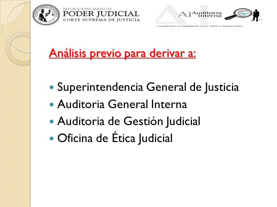 Análisis previo para derivar a: Superintendencia General de Justicia Auditoria General Interna Auditoria de Gestión Judicial Oficina de Ética Judicial