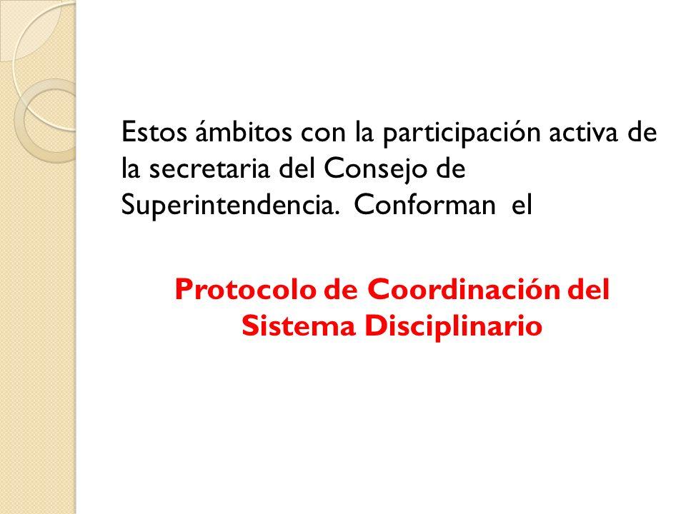 Estos ámbitos con la participación activa de la secretaria del Consejo de Superintendencia. Conforman el Protocolo de Coordinación del Sistema Discipl