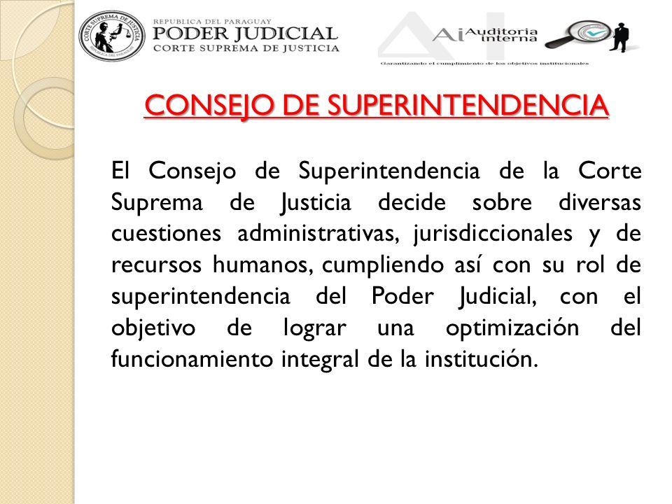 CONSEJO DE SUPERINTENDENCIA El Consejo de Superintendencia de la Corte Suprema de Justicia decide sobre diversas cuestiones administrativas, jurisdiccionales y de recursos humanos, cumpliendo así con su rol de superintendencia del Poder Judicial, con el objetivo de lograr una optimización del funcionamiento integral de la institución.