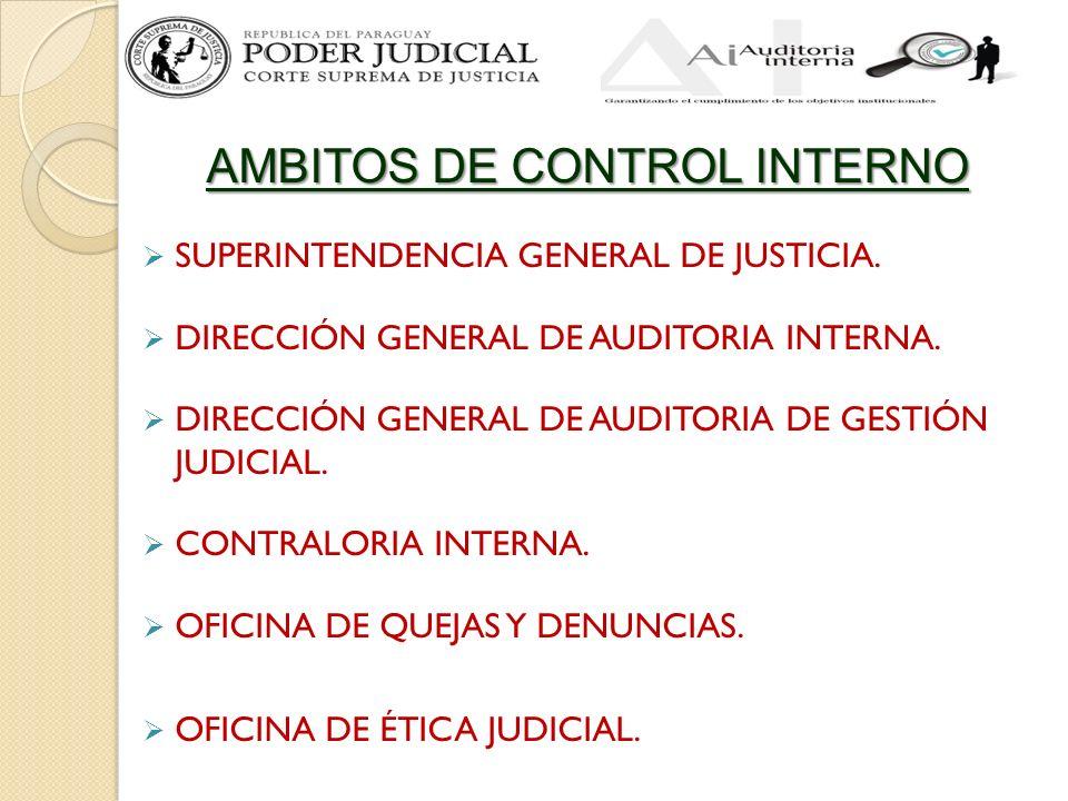 AMBITOS DE CONTROL INTERNO SUPERINTENDENCIA GENERAL DE JUSTICIA. DIRECCIÓN GENERAL DE AUDITORIA INTERNA. DIRECCIÓN GENERAL DE AUDITORIA DE GESTIÓN JUD