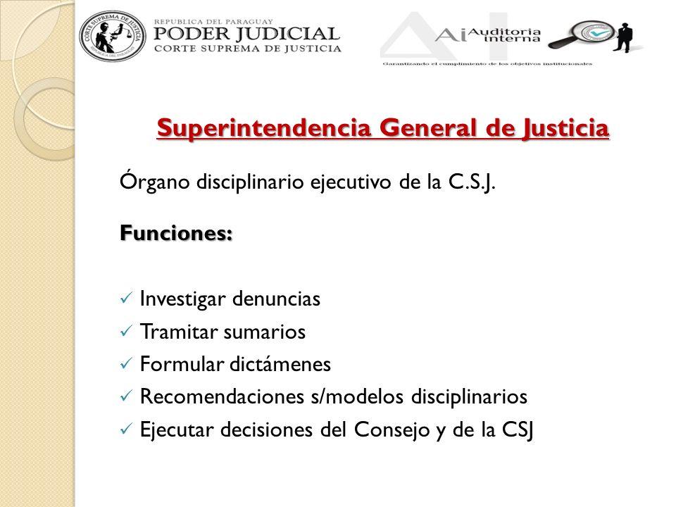 Superintendencia General de Justicia Órgano disciplinario ejecutivo de la C.S.J.Funciones: Investigar denuncias Tramitar sumarios Formular dictámenes
