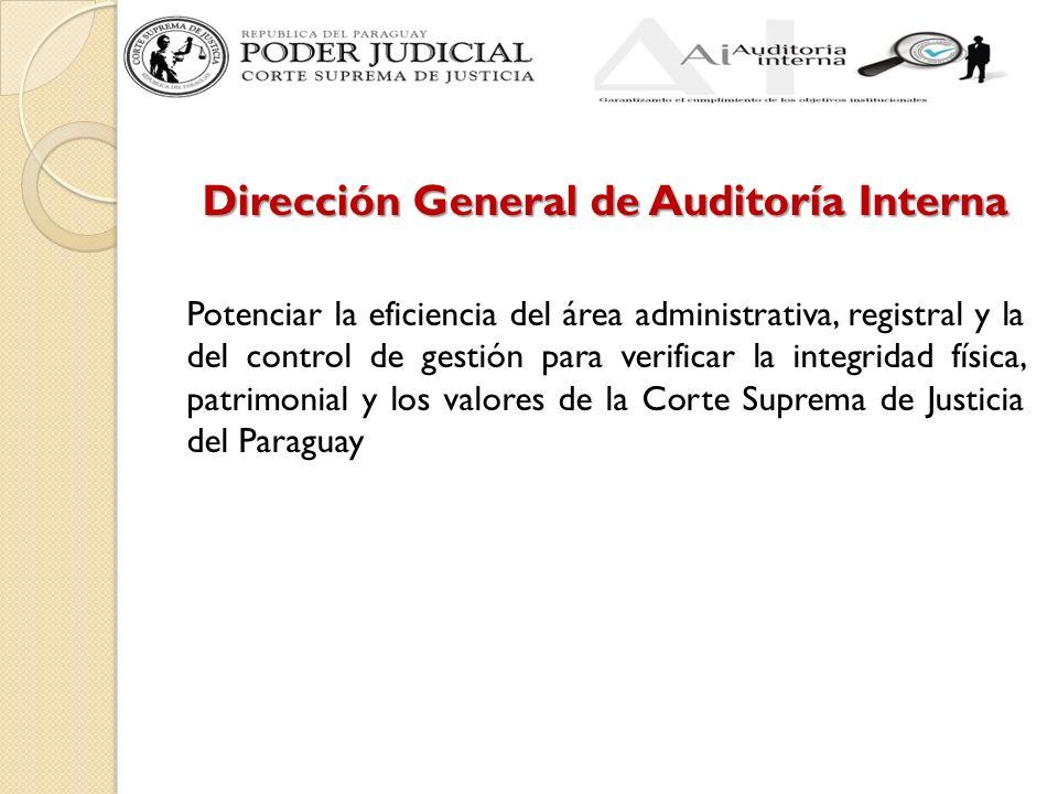 Dirección General de Auditoría Interna Potenciar la eficiencia del área administrativa, registral y la del control de gestión para verificar la integridad física, patrimonial y los valores de la Corte Suprema de Justicia del Paraguay