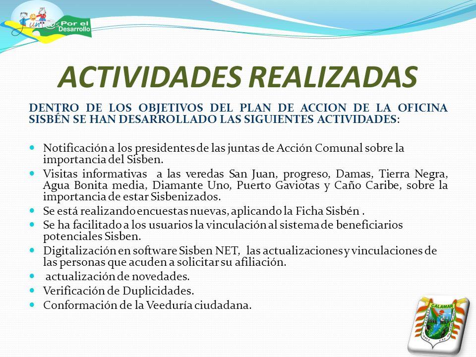 ACTIVIDADES REALIZADAS DENTRO DE LOS OBJETIVOS DEL PLAN DE ACCION DE LA OFICINA SISBÉN SE HAN DESARROLLADO LAS SIGUIENTES ACTIVIDADES: Notificación a