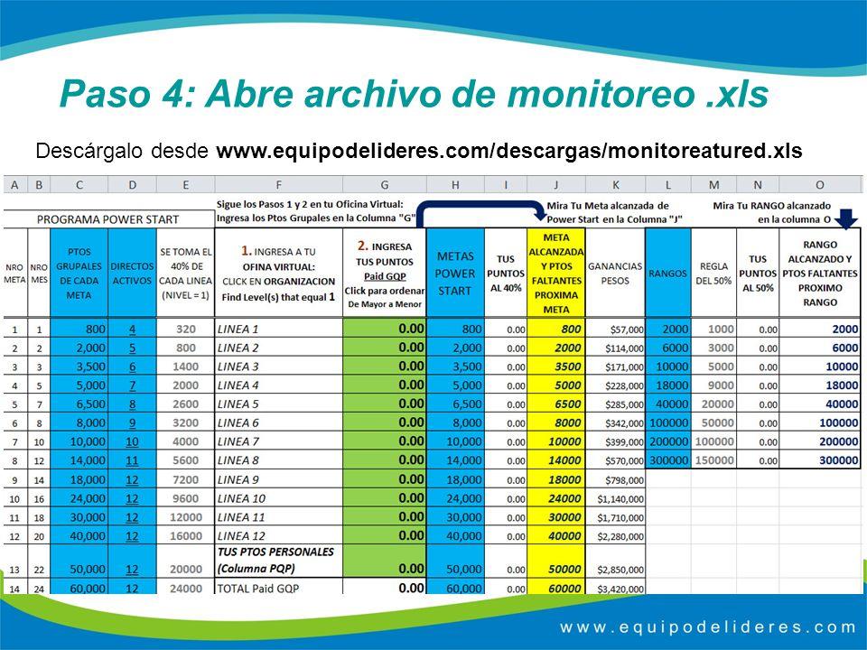 Paso 4: Abre archivo de monitoreo.xls Descárgalo desde www.equipodelideres.com/descargas/monitoreatured.xls
