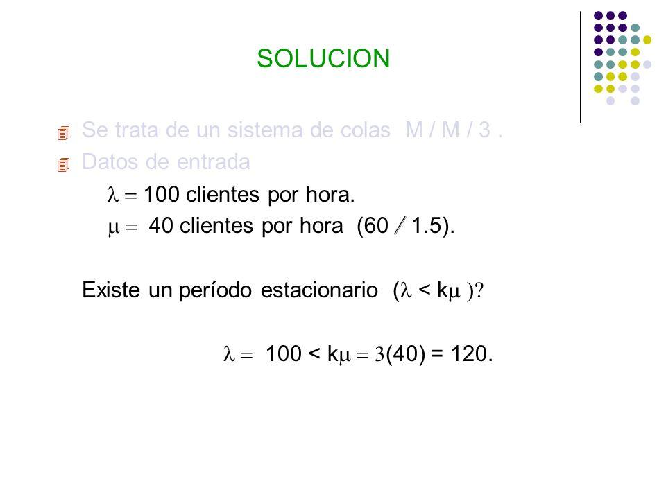 SOLUCION 4 Se trata de un sistema de colas M / M / 3.