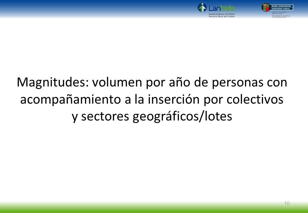 Magnitudes: volumen por año de personas con acompañamiento a la inserción por colectivos y sectores geográficos/lotes 10