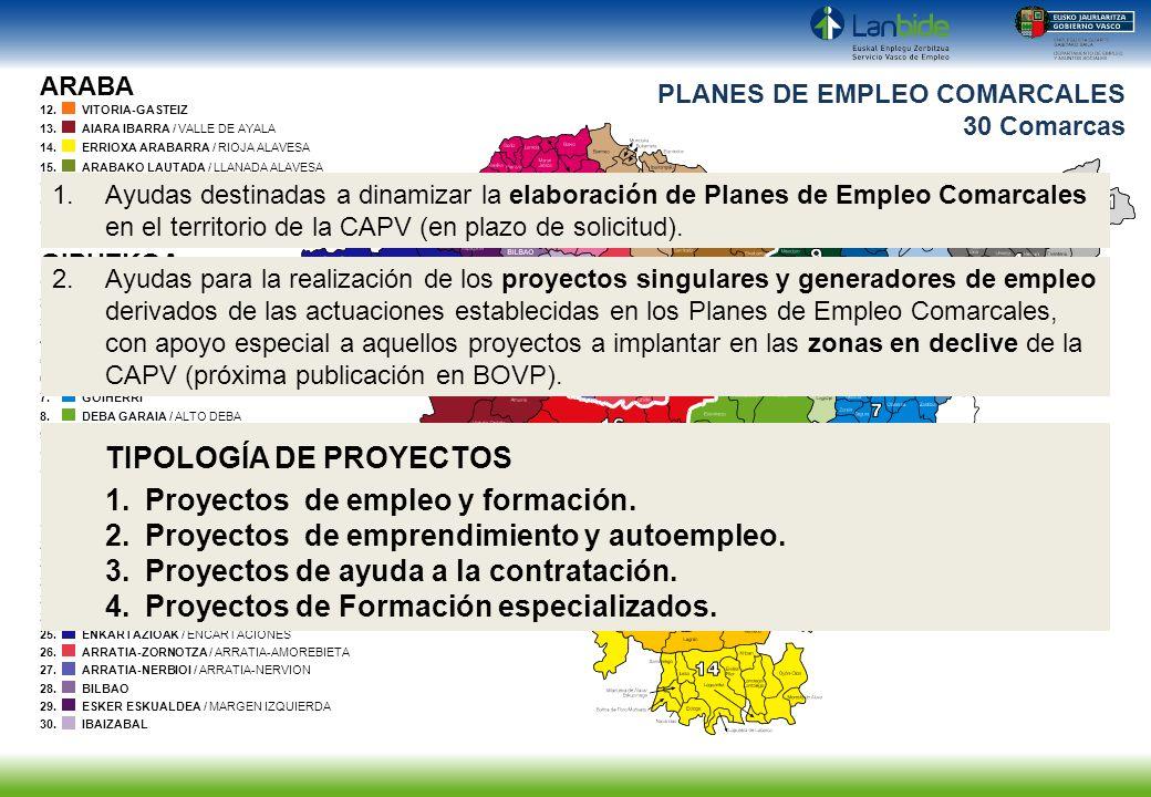 PLANES DE EMPLEO COMARCALES 30 Comarcas ARABA GIPUZKOA BIZKAIA 1.BIDASOA BEHERA / BAJO BIDASOA 2.OARSOALDEA 3.DONOSTIA-SAN SEBASTIAN 4.DONOSTIA MENDEB