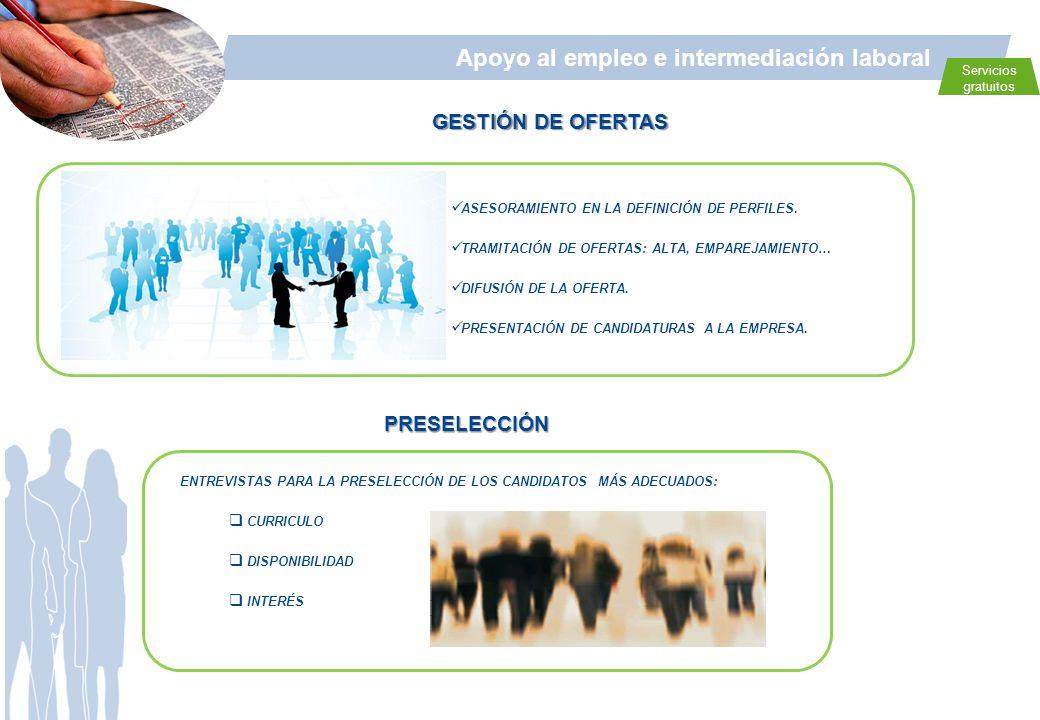 Apoyo al empleo e intermediación laboral Servicios gratuitos PRESELECCIÓN GESTIÓN DE OFERTAS ASESORAMIENTO EN LA DEFINICIÓN DE PERFILES. TRAMITACIÓN D