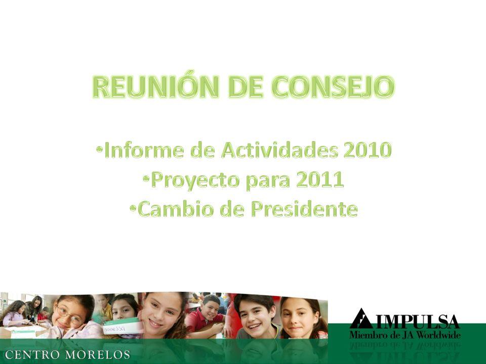 Llevamos a cabo nuestra reunión anual de Consejo, para poder entregar los resultados obtenidos en el 2010, así como presentar brevemente los proyectos para este 2011.