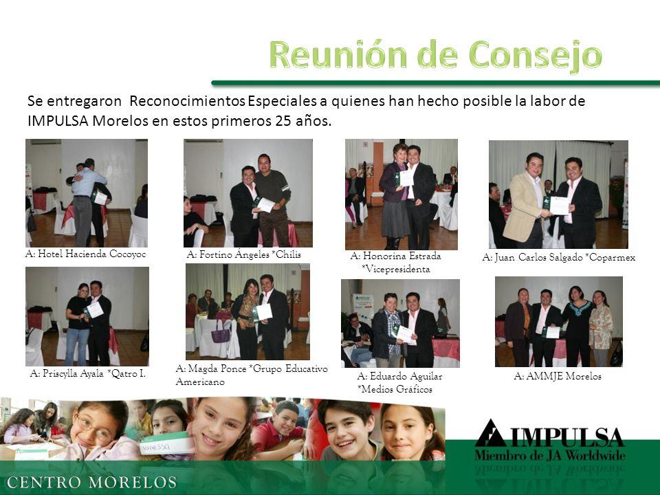 Se entregaron Reconocimientos Especiales a quienes han hecho posible la labor de IMPULSA Morelos en estos primeros 25 años.