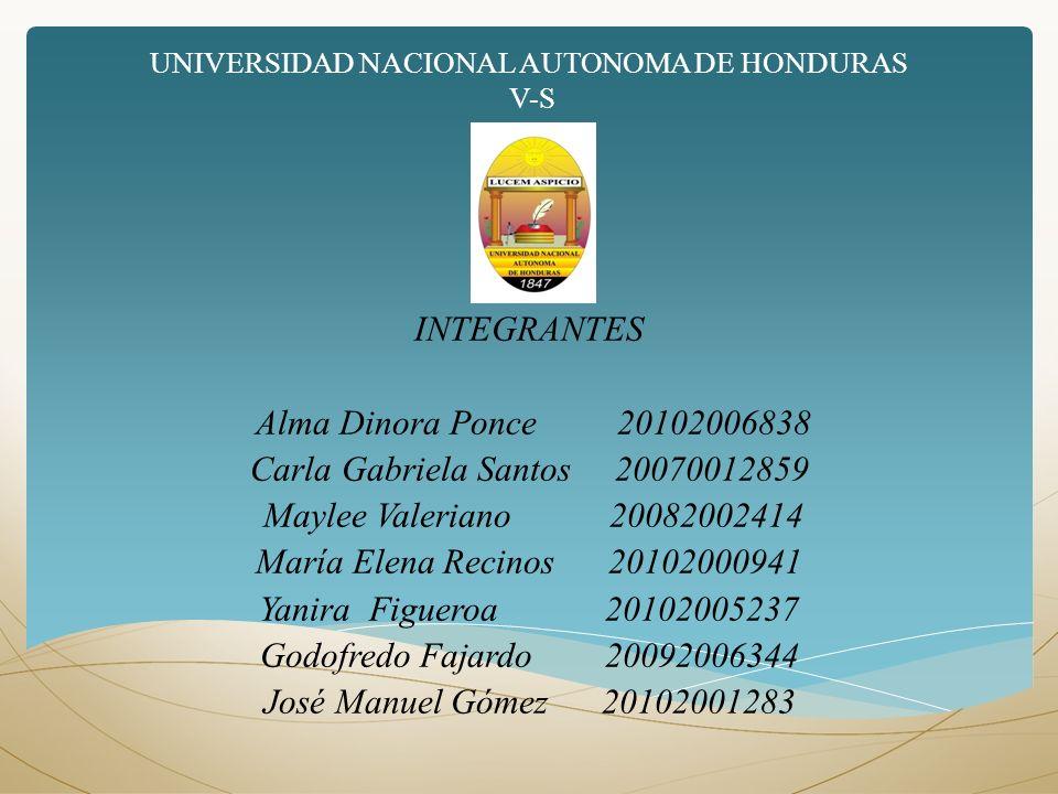 UNIVERSIDAD NACIONAL AUTONOMA DE HONDURAS V-S INTEGRANTES Alma Dinora Ponce 20102006838 Carla Gabriela Santos 20070012859 Maylee Valeriano 20082002414