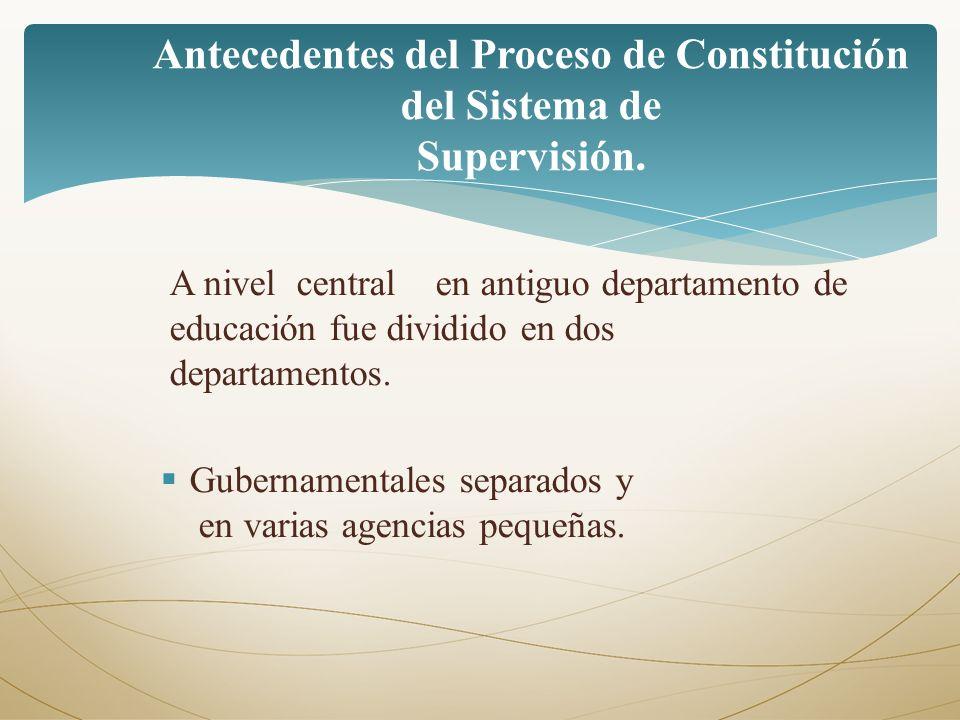 A nivel central en antiguo departamento de educación fue dividido en dos departamentos. Gubernamentales separados y en varias agencias pequeñas. Antec