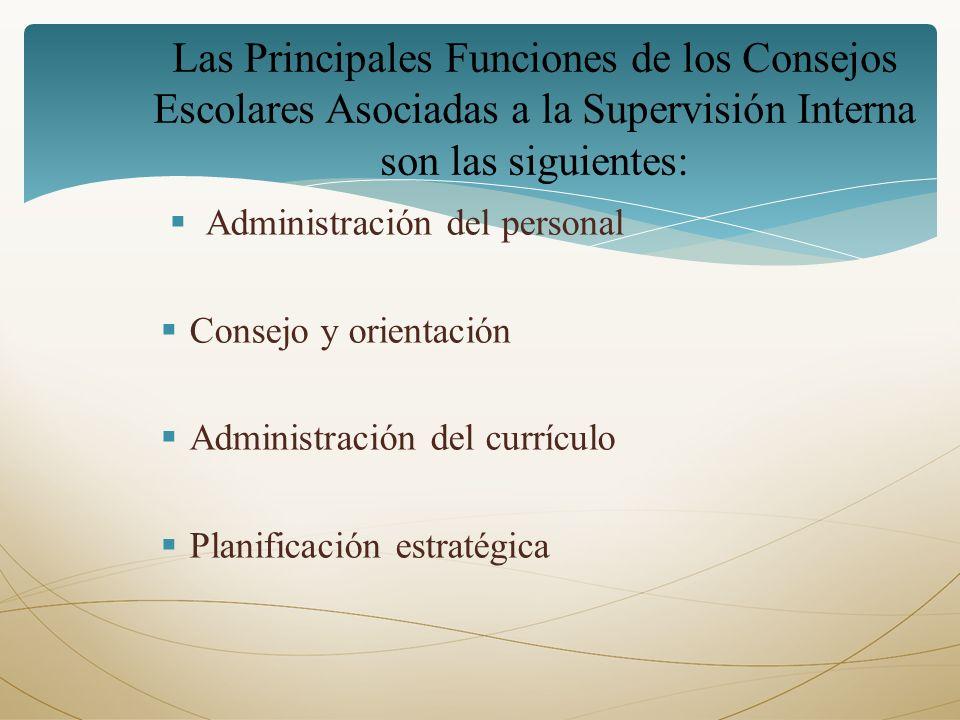 Administración del personal Consejo y orientación Administración del currículo Planificación estratégica Las Principales Funciones de los Consejos Esc