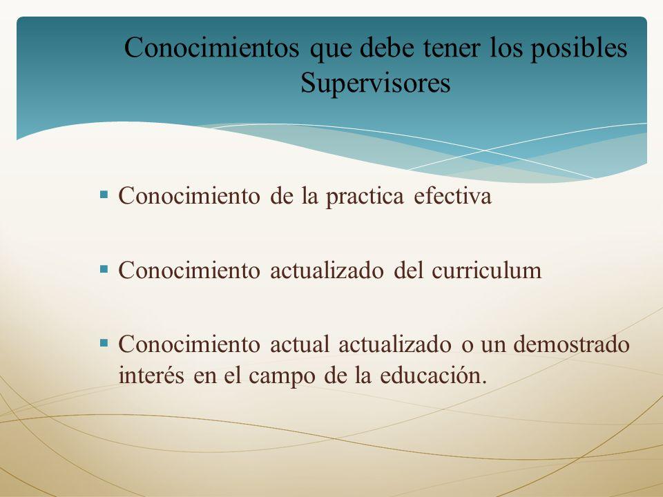 Conocimiento de la practica efectiva Conocimiento actualizado del curriculum Conocimiento actual actualizado o un demostrado interés en el campo de la