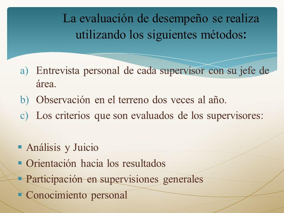 a)Entrevista personal de cada supervisor con su jefe de área. b)Observación en el terreno dos veces al año. c)Los criterios que son evaluados de los s