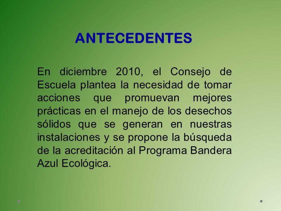 En diciembre 2010, el Consejo de Escuela plantea la necesidad de tomar acciones que promuevan mejores prácticas en el manejo de los desechos sólidos q