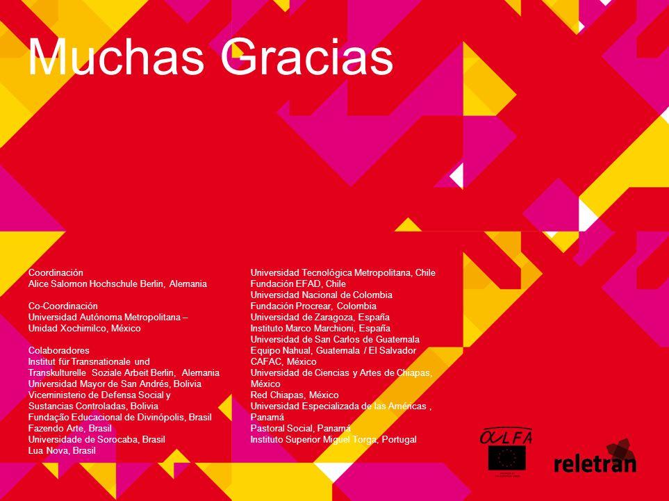 Muchas Gracias Coordinación Alice Salomon Hochschule Berlin, Alemania Co-Coordinación Universidad Autónoma Metropolitana – Unidad Xochimilco, México C