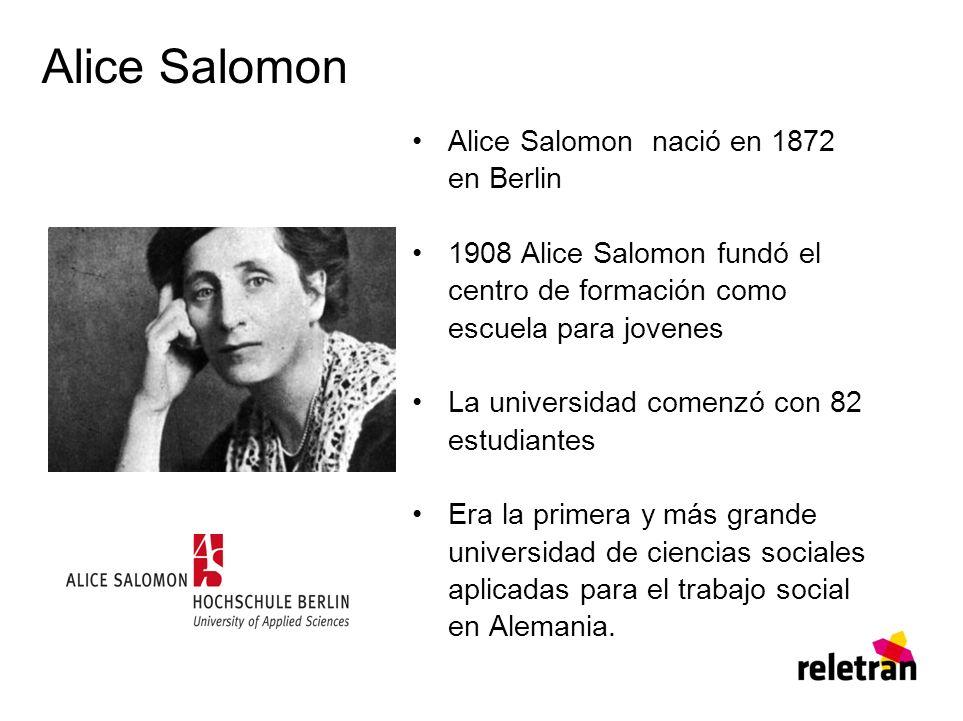 Alice Salomon Alice Salomon nació en 1872 en Berlin 1908 Alice Salomon fundó el centro de formación como escuela para jovenes La universidad comenzó con 82 estudiantes Era la primera y más grande universidad de ciencias sociales aplicadas para el trabajo social en Alemania.
