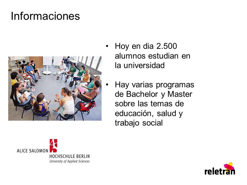 Informaciones Hoy en dia 2.500 alumnos estudian en la universidad Hay varias programas de Bachelor y Master sobre las temas de educación, salud y trabajo social