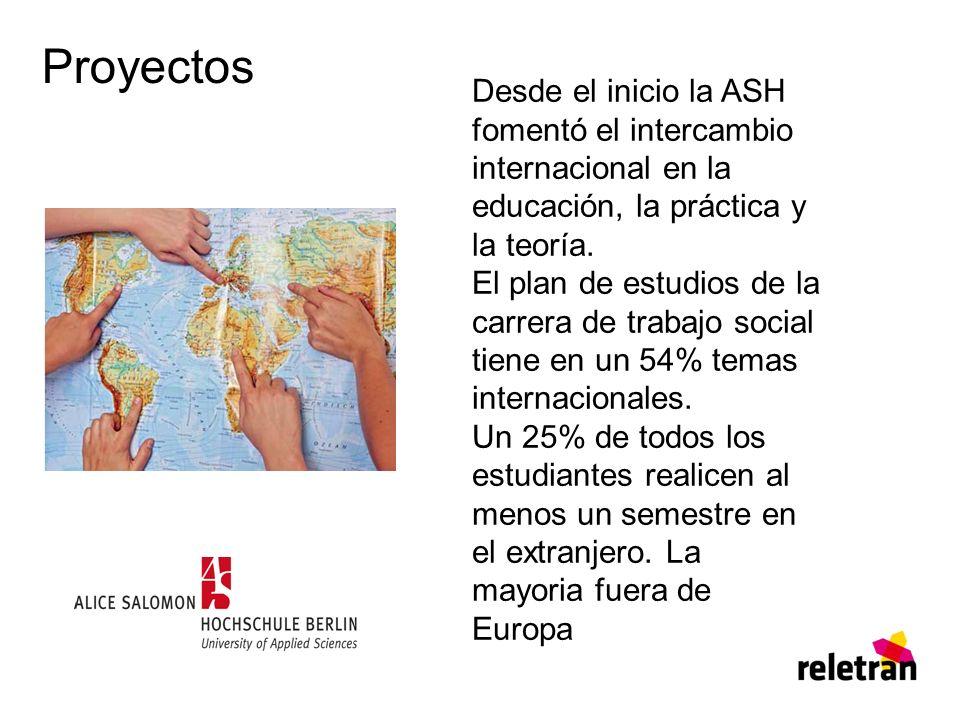 Proyectos Desde el inicio la ASH fomentó el intercambio internacional en la educación, la práctica y la teoría. El plan de estudios de la carrera de t