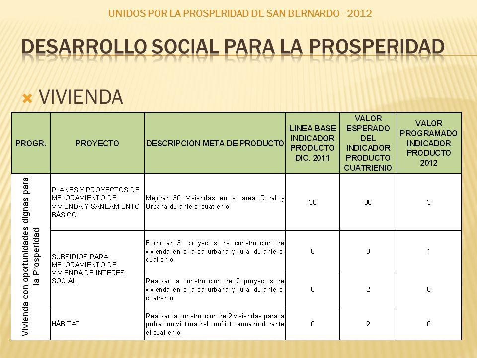 VIVIENDA UNIDOS POR LA PROSPERIDAD DE SAN BERNARDO - 2012