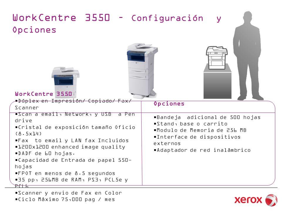 WorkCentre 3550 – Configuración y Opciones WorkCentre 3550 Dúplex en Impresión/ Copiado/ Fax/ Scanner Scan a email, Network, y USB a Pen drive Cristal de exposición tamaño Oficio (8.5x14) Fax to email y LAN fax Incluidos 1200x1200 enhanced image quality DADF de 60 hojas.