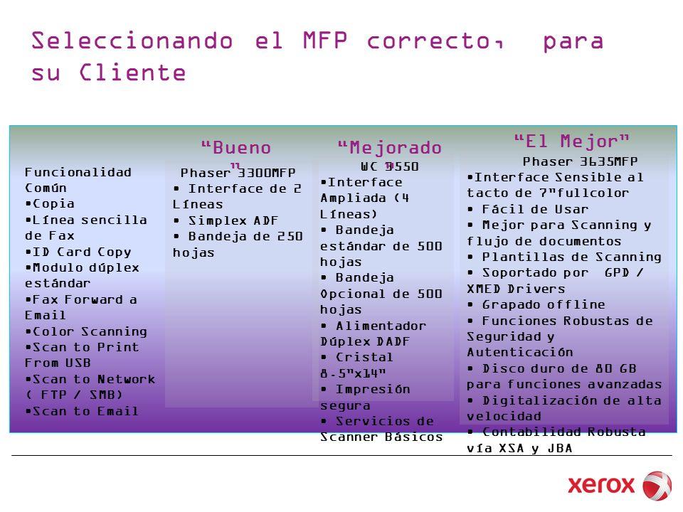 Seleccionando el MFP correcto, para su Cliente Funcionalidad Común Copia Línea sencilla de Fax ID Card Copy Modulo dúplex estándar Fax Forward a Email Color Scanning Scan to Print From USB Scan to Network ( FTP / SMB) Scan to Email Phaser 3300MFP Interface de 2 Líneas Simplex ADF Bandeja de 250 hojas WC 3550 Interface Ampliada (4 Líneas) Bandeja estándar de 500 hojas Bandeja Opcional de 500 hojas Alimentador Dúplex DADF Cristal 8.5x14 Impresión segura Servicios de Scanner Básicos Phaser 3635MFP Interface Sensible al tacto de 7fullcolor Fácil de Usar Mejor para Scanning y flujo de documentos Plantillas de Scanning Soportado por GPD / XMED Drivers Grapado offline Funciones Robustas de Seguridad y Autenticación Disco duro de 80 GB para funciones avanzadas Digitalización de alta velocidad Contabilidad Robusta vía XSA y JBA Bueno Mejorado El Mejor