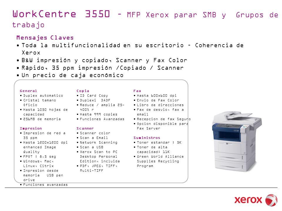 Mensajes Claves Toda la multifuncionalidad en su escritorio – Coherencia de Xerox B&W impresión y copiado, Scanner y Fax Color Rápido, 35 ppm impresión /Copiado / Scanner Un precio de caja económico General Duplex automatico Cristal tamano Oficio Hasta 1050 hojas de capacidad 256MB de memoria Impresion Impresion de red a 35 ppm Hasta 1200x1200 dpi enhanced Image Quality FPOT : 8.5 seg Windows, Mac, Linux, Citrix Inpresion desde memoria USB pen drive Funciones avanzadas WorkCentre 3550 – MFP Xerox parar SMB y Grupos de trabajo Copia ID Card Copy Duplexi DADF Reduce / amplia 25- 400% r Hasta 999 copies Funciones Avanzadas Scanner Scanner color Scan a Email Network Scanning Scan a USB Xerox Scan to PC Desktop Personal Edition, incluida PDF, JPEG, TIFF, Multi-TIFF Fax Hasta 600x600 dpi Envio de Fax Color Libro de direcciones Fax de desvio, fax a email Recepcion de fax Seguro Opcion disponible para Fax Server Suministros Toner estandar : 5K Toner de alta capacidad: 11K Green World Alliance Supplies Recycling Program