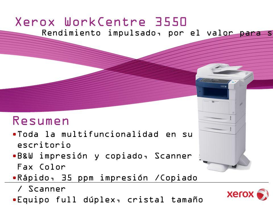Xerox WorkCentre 3550 Resumen Toda la multifuncionalidad en su escritorio B&W impresión y copiado, Scanner y Fax Color Rápido, 35 ppm impresión /Copiado / Scanner Equipo full dúplex, cristal tamaño legal Un precio de caja económico Rendimiento impulsado, por el valor para su Oficina