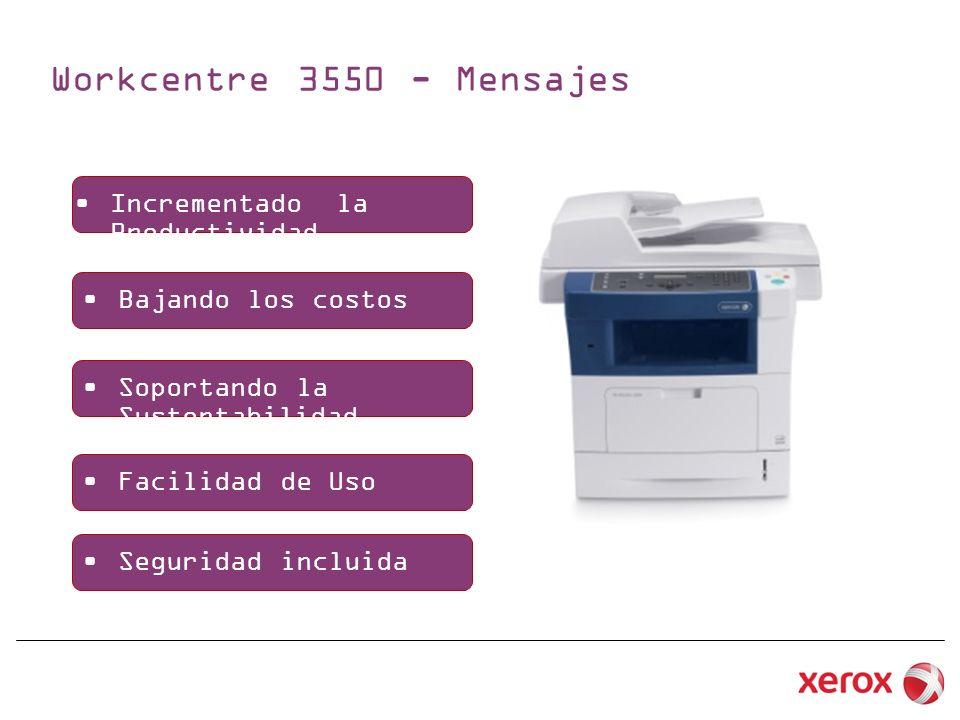 Workcentre 3550 - Mensajes Incrementado la Productividad Bajando los costos Soportando la Sustentabilidad Facilidad de Uso Seguridad incluida