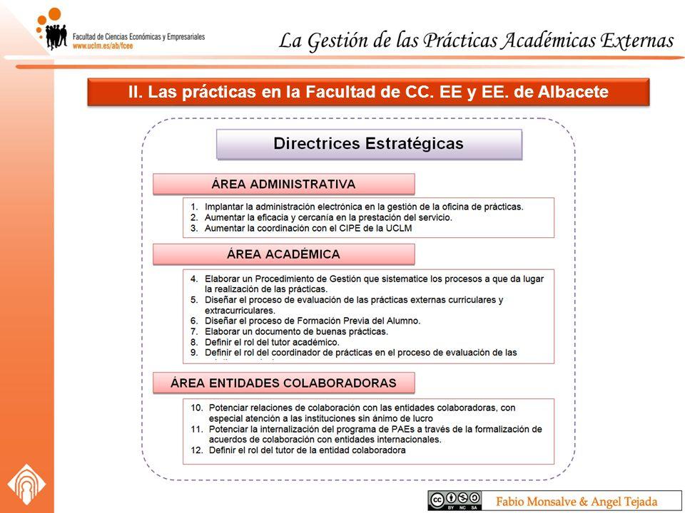 II. Las prácticas en la Facultad de CC. EE y EE. de Albacete