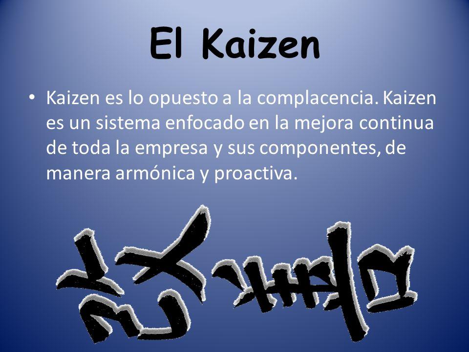 El Kaizen Kaizen es lo opuesto a la complacencia. Kaizen es un sistema enfocado en la mejora continua de toda la empresa y sus componentes, de manera