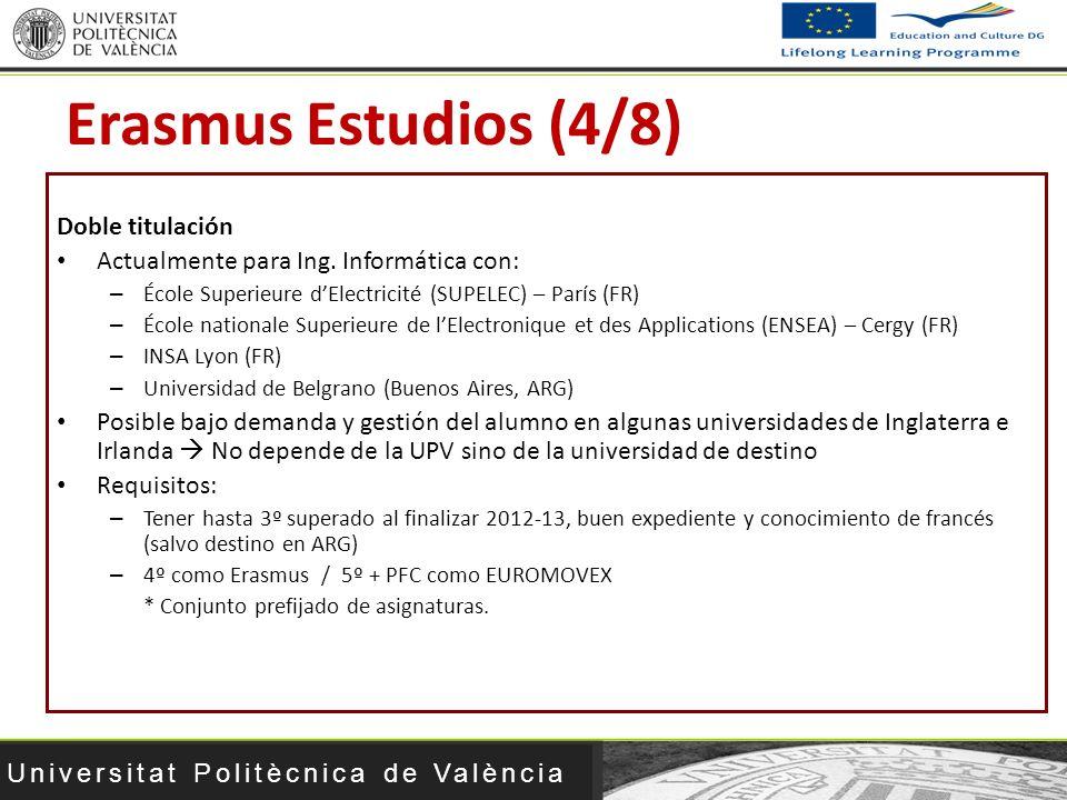 Universitat Politècnica de València Doble titulación Actualmente para Ing. Informática con: – École Superieure dElectricité (SUPELEC) – París (FR) – É