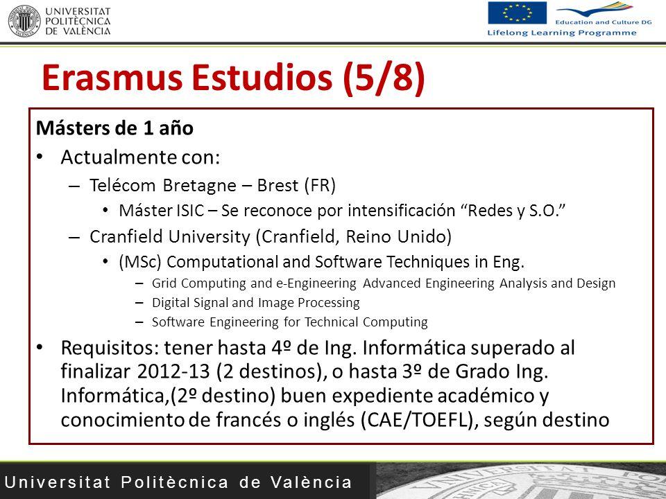 Universitat Politècnica de València Másters de 1 año Actualmente con: – Telécom Bretagne – Brest (FR) Máster ISIC – Se reconoce por intensificación Re