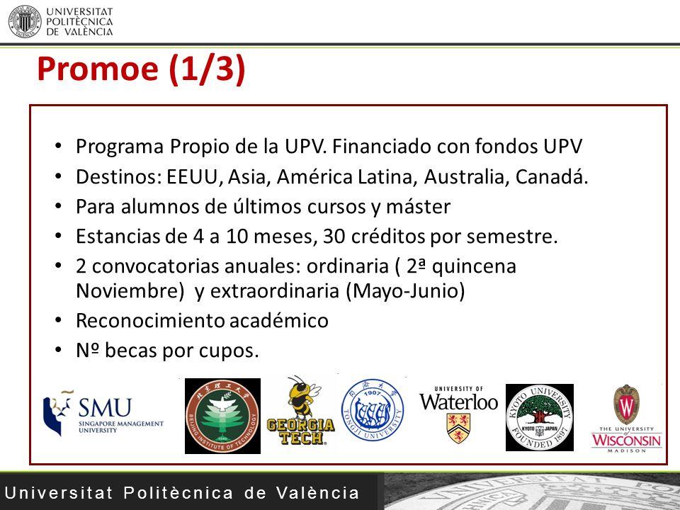 Universitat Politècnica de València Programa Propio de la UPV. Financiado con fondos UPV Destinos: EEUU, Asia, América Latina, Australia, Canadá. Para