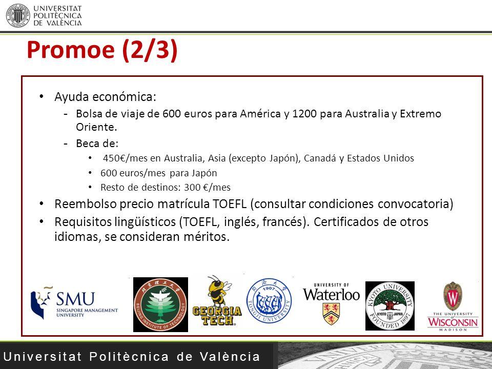 Universitat Politècnica de València Ayuda económica: -Bolsa de viaje de 600 euros para América y 1200 para Australia y Extremo Oriente. -Beca de: 450/