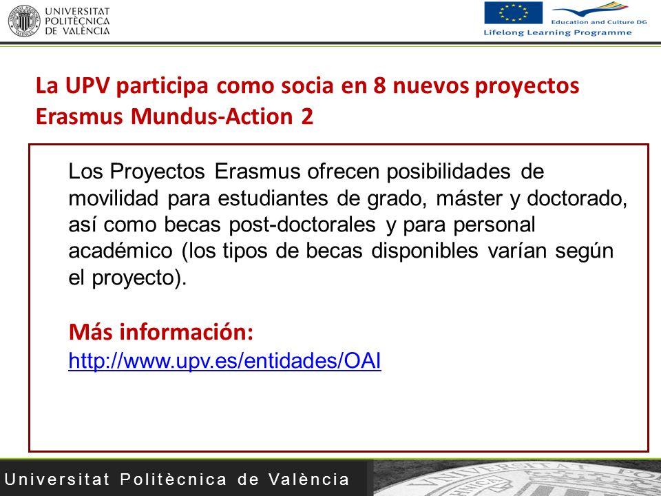 Universitat Politècnica de València La UPV participa como socia en 8 nuevos proyectos Erasmus Mundus-Action 2 Los Proyectos Erasmus ofrecen posibilida