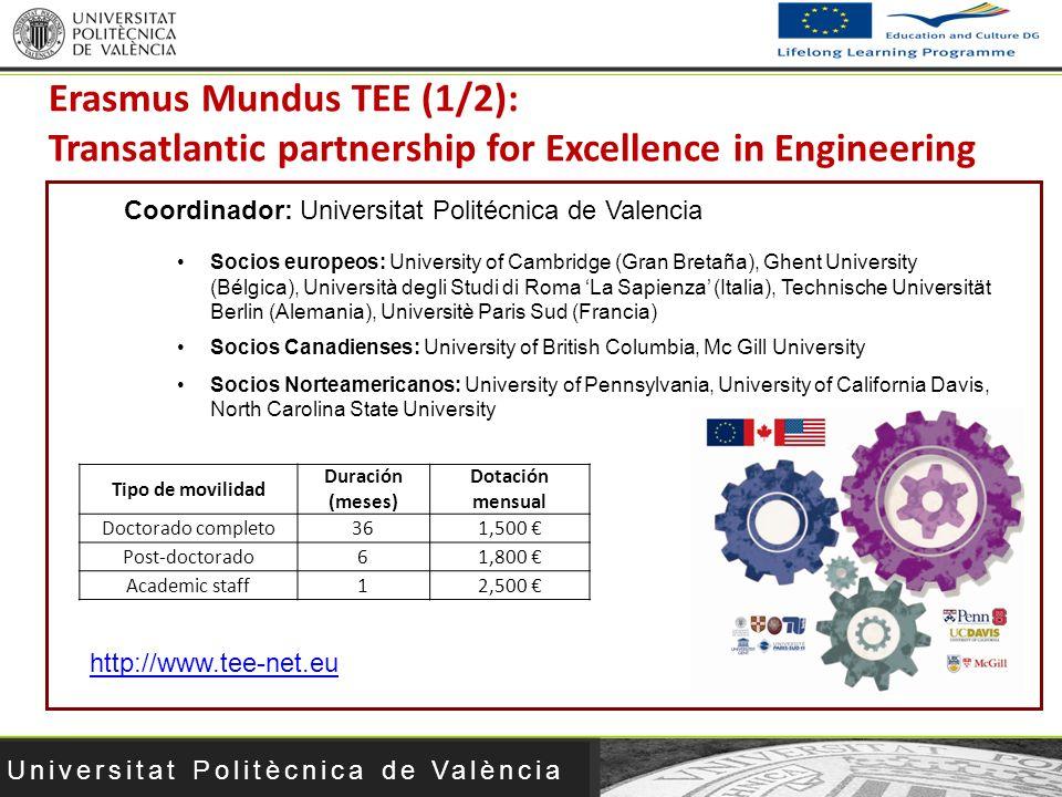 Universitat Politècnica de València Socios europeos: University of Cambridge (Gran Bretaña), Ghent University (Bélgica), Università degli Studi di Rom