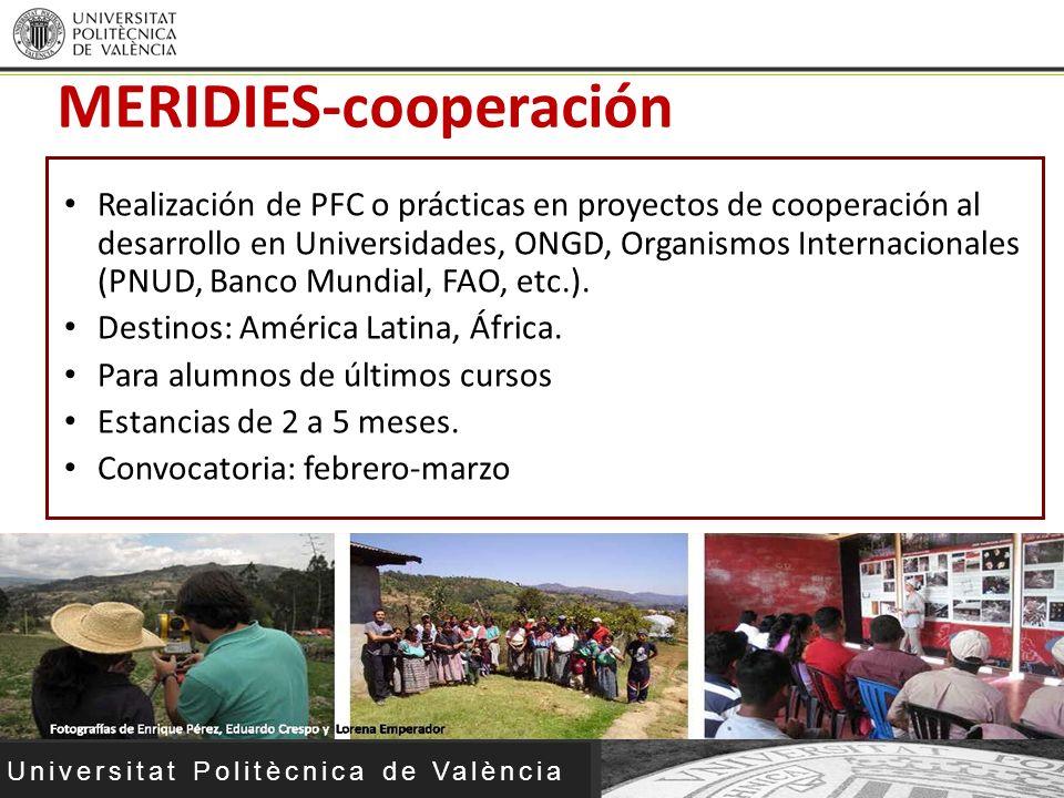 Universitat Politècnica de València MERIDIES-cooperación Realización de PFC o prácticas en proyectos de cooperación al desarrollo en Universidades, ON