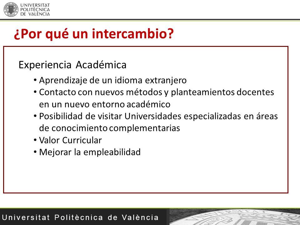 Universitat Politècnica de València ¿Por qué un intercambio? Experiencia Académica Aprendizaje de un idioma extranjero Contacto con nuevos métodos y p