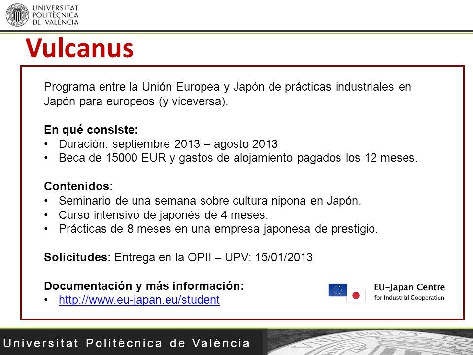 Universitat Politècnica de València Vulcanus Programa entre la Unión Europea y Japón de prácticas industriales en Japón para europeos (y viceversa). E