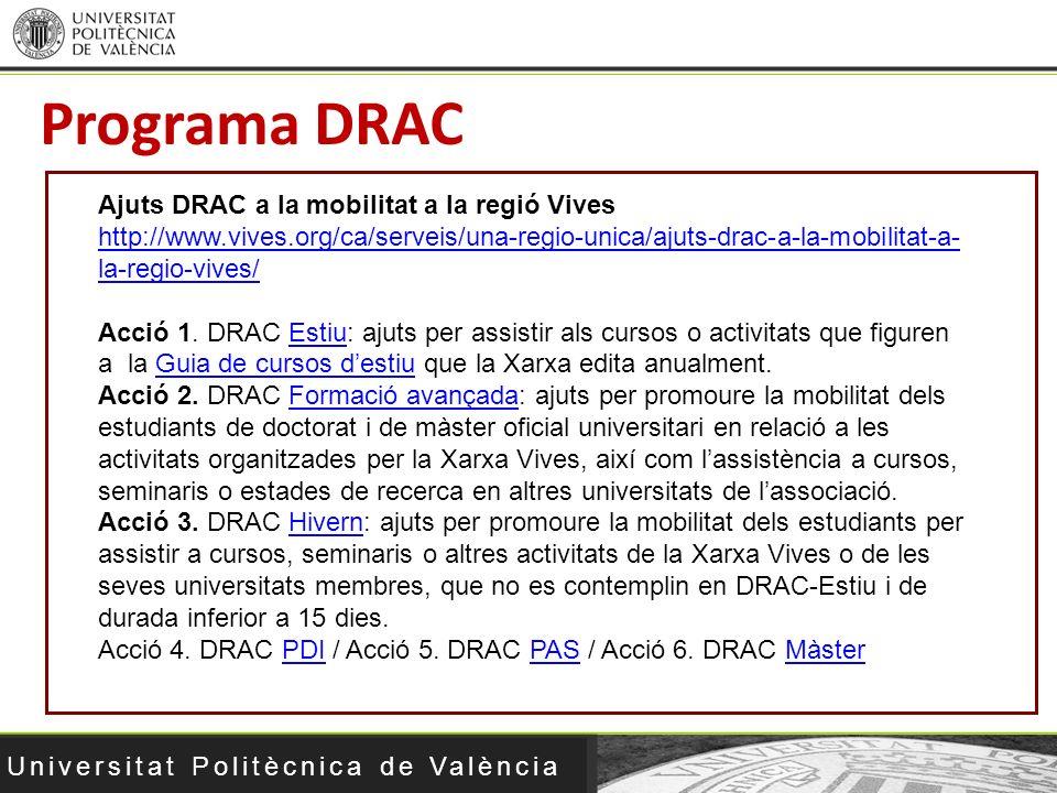 Universitat Politècnica de València Programa DRAC Ajuts DRAC a la mobilitat a la regió Vives http://www.vives.org/ca/serveis/una-regio-unica/ajuts-dra