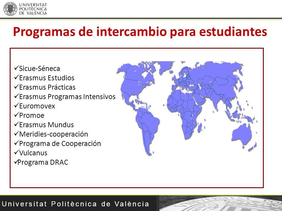 Universitat Politècnica de València Sicue-Séneca Erasmus Estudios Erasmus Prácticas Erasmus Programas Intensivos Euromovex Promoe Erasmus Mundus Merid